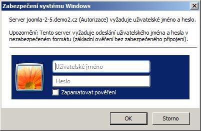 Autentifikace v prohlížeči Internet Explorer